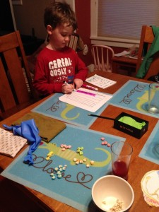 Riley sorts and graphs his Lucky Charms.