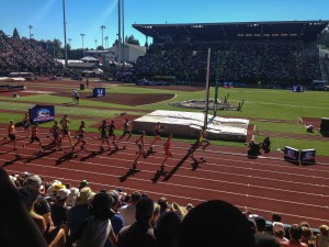 The final event for the decathlon. The grueling 1500 m. The guy in front is Jeremy Taiwo. He competed at UW.